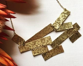 Abstract Hand Stamped Brass Bib Necklace