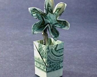 Flower in a Pot Money Origami Dollar Bill Cash Sculptors Bank Note Handmade Dinero