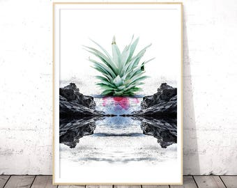 Abstract Seascape Art Print, Sea Wall Art, Digital Download Art, Printable Poster, Modern Minimalist, Pineapple Print, INSTANT DOWNLOAD