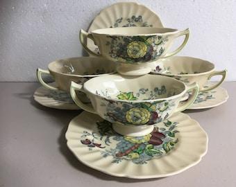 Royal Doulton The Kirkwood Cream Soup Bowls and Saucers