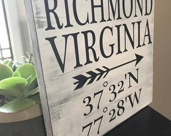 Coordinate Sign, Wedding Sign, Rustic Home Decor, Handmade Gift, Coordinates Wood Sign, Home Decor, Wood Sign, Gift Ideas, Custom Wood Sign