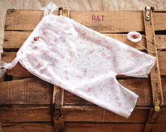 Newborn girl romper with tieback, baby romper, newborn lace, lace romper, new romper,  photography prop lace, newborn girl, RTS.