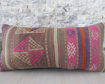 Vintage Hand Woven Kilim Pillow 12x24 MultiColored Turkish Pillow Asian Pillow Decorative Pillow Home Decor Sofa Pillow 12x24 zdkilimspillow