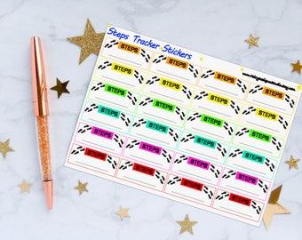 Steps Tracker Planner Stickers, Steps Tracker, Steps Stickers, Fitness Stickers, Vinyl Stickers