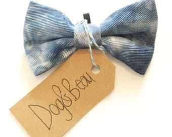 dog bow tie, tie dye dog bow tie, grey dog bow tie, dog clothing, puppy bow tie, detachable bow tie, pet bow tie, blue bow tie