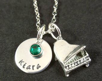 Piano Necklace or Keychain, Gift for Piano Teacher