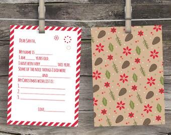 Keepsake Children's Letter to Santa Christmas Wishlist Nice List Dear Santa Letter Printable Letters to Santa Letters Christmas Wish List