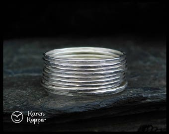 Set of 10 - Sterling silver Super skinny rings. Also in 14k Gold filled (Rose or yellow), 0.8mm ring. Thin ring, stacking ring.