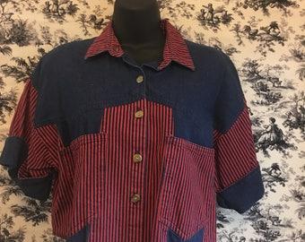 Circle T, 1980's denim western shirt, crop top