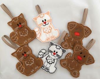 Gingerbread Pets - Christmas tree ornaments - Pet ornaments - Christmas gift