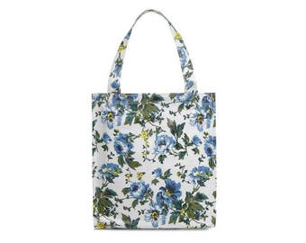 Oilcloth lunch bag for women - Small Reusable bag - Oil cloth lunch bag for kids- Ladies toiletry bag- small bag- Waterproof bag- Peony rose