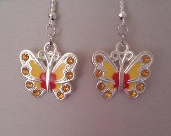 Earrings yellow butterflies