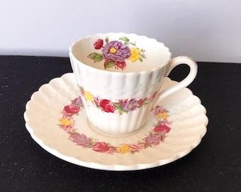 Spode Rose Briar Demitasse Cup and Saucer