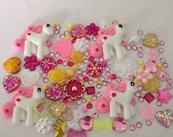 4 Unicorn Mix Flatbacks Hearts cabachon  Resin Pearls Embellishments Card making scrap booking