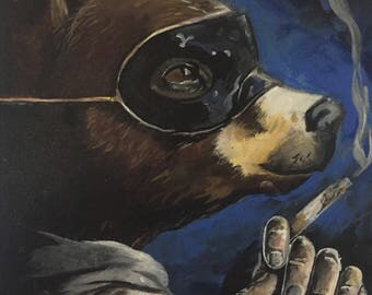 "Smoking bear 10x14"" original signed acrylic painting surrealist"