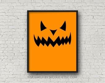 Jack O Lantern, PRINTABLE Halloween, Halloween Decor, Halloween Party Decoration, Spooky Decor, Pumpkin Print, Halloween Print, Halloween