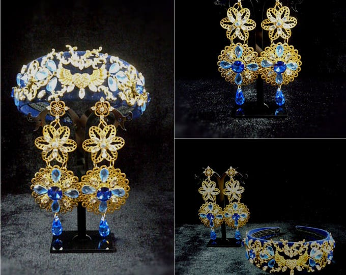 Gold Royal Blue Wedding Crown Earrings Party Tiara Gold Metal Filigree Baroque Crown Headband Swarovski Byzantine Jewelry Set Bridal Luxury