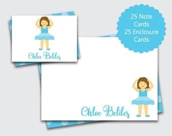 Ballerina Stationery for Girls / Personalized Thank You Card for Girls / Ballet Note Cards / Stationary Set (Item #1708-001FCC)