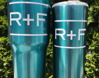 TEAL 30 oz / 20 oz Yeti-like tumbler - Drink cup - Rodan and Fields blue - R+F  - Vinyl decal - Ready to Ship - Gift - personalized - custom