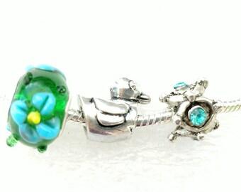 Duck Flowers Charm Beads 3 PCs Set Fit Pandora European Bracelets
