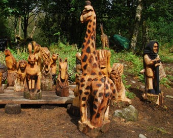 5ft 10in Giraffe Chainsaw carved in Beech