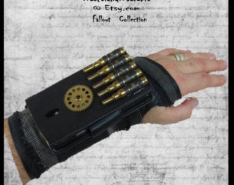 Post Apocalyptic BRACeR PHONE BRACER Industrial Mad Max Steampunk MILITARY Black Leather Apocalypse Accessories by WastelandWearable