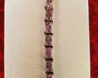 Sterling Silver Tennis Bracelet with Amethysts