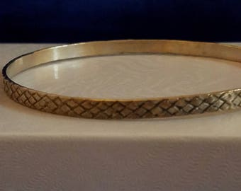 BA001 Sterling Silver Bangle with Basketweave Etchings