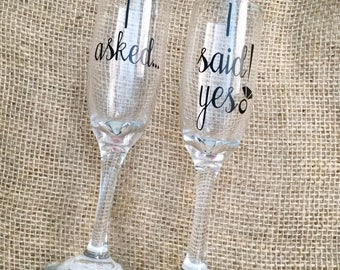 """Engagement Champagne Flutes Set of 2 """"I asked.."""" """"I said yes!"""" Perfect gift for newly engaged couples proposal party"""