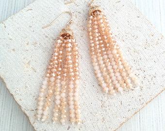 Bead Earring,Bead Dangle Earring,Beaded Tassel Earring,Beaded Tassel Dangle Earring,Tassel Earring,Hanging Tassel Earring