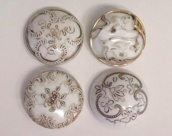 """Antique Art Nouveau """"Victorian"""" Glass Buttons - Gold Detail"""