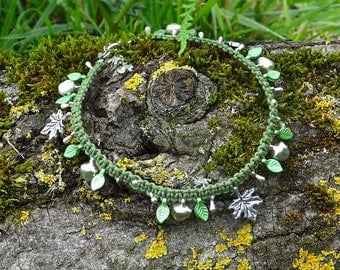 Forest faerie anklet with different leaf pendants, silver bells and silver drops ~ handmade OOAK summer jewelry