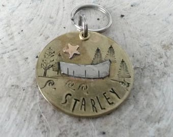Pet id tag - puppy tag - pet supplies - outdoor theme pet id - pet id with canoe - round pet tag - metal pet id - dog tag - forest theme