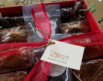 Christmas Breakfast Gift Basket with coffee, baked goods, chocolate covered espresso beans, mini breads, coffee cake