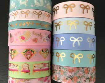 """24"""" SAMPLES of Simply Gilded and Papermela foil washi tape (M167)"""