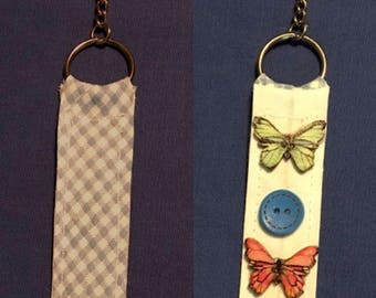 Adorable blue  gingham keychain/butterfly buttons/prairie keychain/butterfly keychain