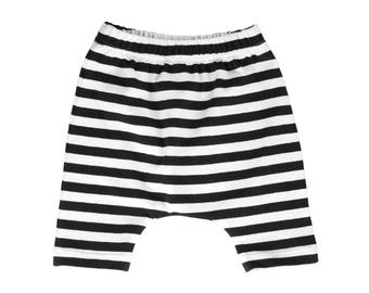 harem shorts, black and white shorts, black and white harem shorts, gender neutral shorts, hipster baby shorts