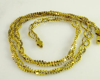 "24"" Triple Strand Flat Bead Necklace Milor Italy 925 Sterling"