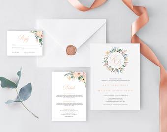 Wild Flower Wedding Invitation Template  -  Rose Gold Editable Stationary Set  -  Printable DIY Wedding Invites