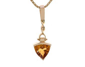 2.00 Carat Trillion Cut Citrine Pendant Necklace 14K Yellow Gold