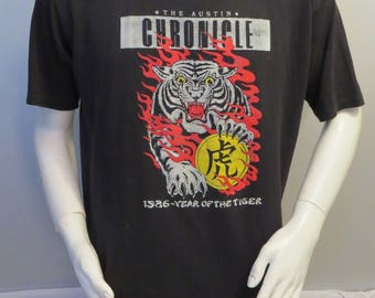 Vintage Graphic T-shirt - 1986 Chinese New Year Tiger Graphic - Men's 2XL