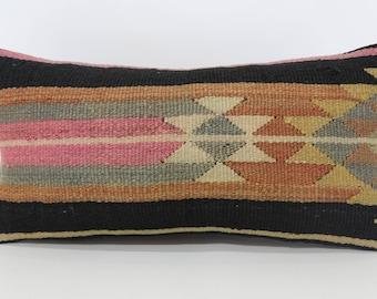 12x24 Handwoven Kilim Pillow Embroidered Kilim Pillow 12x24 Lumbar Kilim Pillow Turkish Kilim Pillow Ethnic Pillow Throw Pillow SP3060-1013
