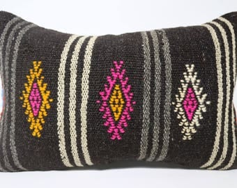 16x24 Black Striped Embroidered Kilim Pillow Home Decor 16x24 Lumbar Kilim Pillow Turkish Kilim Pillow Cushion Cover SP4060-1213
