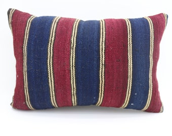 16x24 Pillow Cover Stripe Kilim Pillow Multicolor Kilim Pillow 16x24 Kilim Pillow Cushion Cover Throw Pillow Blue and Red Pillow SP4060-1443