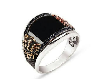 Silver Sterling 925 set Cabochon stone natural semi precious Onyx Zircon Tugra Silver Signet Ring