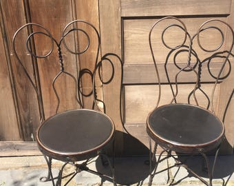 Vintage Ice Cream Parlor Chairs, pair