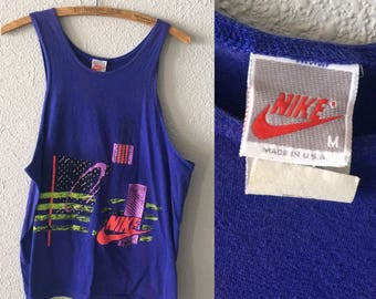 1980's Nike Vintage Nike Abstract 80's Graphic Tank Top T Shirt