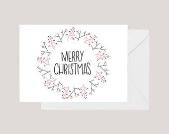 Printable Merry Christmas Card | Greeting Card | Holiday Card | | Xmas Card | A2 Card | Christmas Wreath Card | Simple Christmas Card