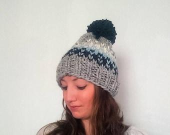 50% OFF SALE Chunky Knit Hat, Knit Pom Pom Hat, Grey Knit Hat, Chunky Pom Pom Hat Fair Isle Hat - Grey Marble