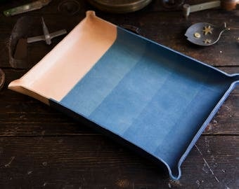 10x15 Giant Indigo Dipped Leather Catchall Console Tray Made in USA